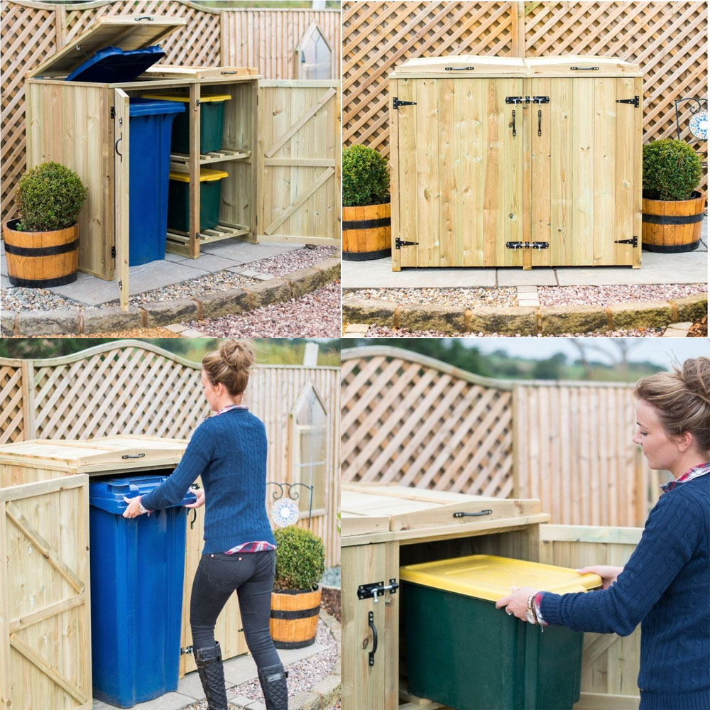 WHEELIE BIN & 2 RECYCLING BOX WOODEN STORE STORAGE CHEST