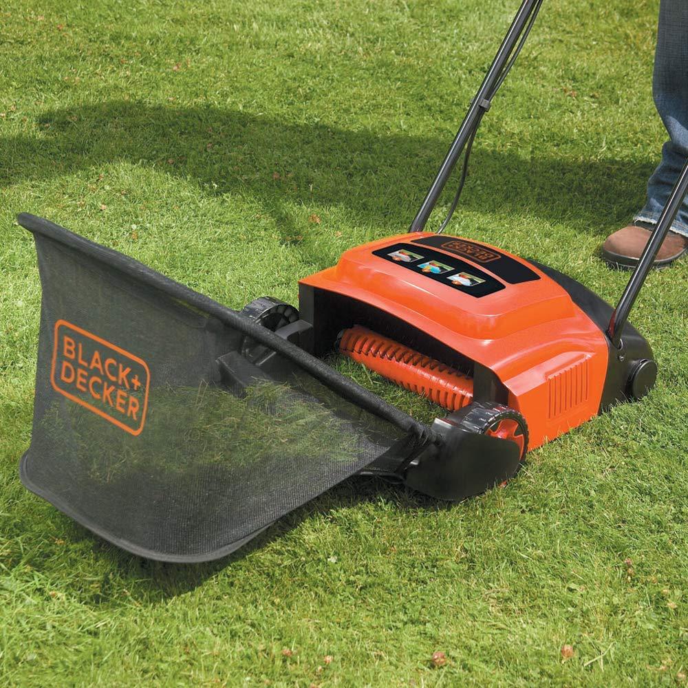 Black + Decker 600W 30cm Lawn Raker grass collector