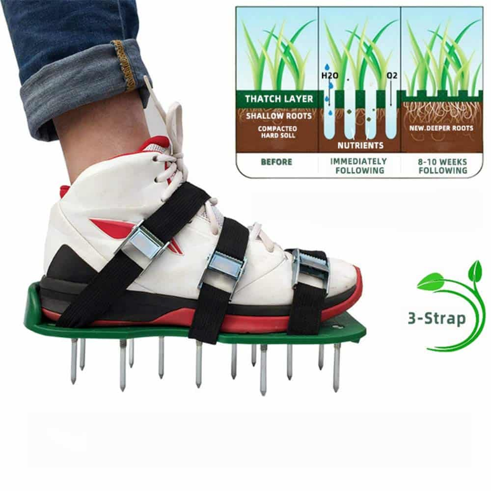 How To Aerate There are several types of aerating equipment and the size of your lawn will determine what type of tools are needed for the task. Aerating sandals or a pitchfork are sufficient for very small lawns and these fit into the spike aerator category. The sandals are worn over normal shoes and you just walk methodically over your entire lawn, poking holes into the soil with each step. Wearing spiked golf shoes anytime you walk across your lawn will be beneficial, but annual aeration will still be needed. A pitchfork is used to create rows of holes across the lawn for aeration. This is a labor-intensive spike aeration method, but it gets the job done. Slicing aerators slice through the thatch and down to the soil level. Plug aerators remove plugs of soil from the lawn to allow air, water, and food to reach the grass roots. Both of these types of aerators can be purchased or rented as an attachment for a riding lawn mower or as a push-type machine.